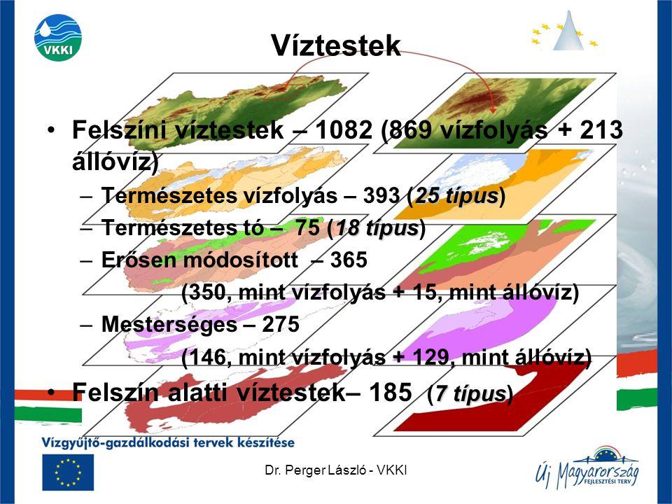 Dr. Perger László - VKKI Víztestek •Felszíni víztestek – 1082 (869 vízfolyás + 213 állóvíz) 25 típus –Természetes vízfolyás – 393 (25 típus) 18 típus