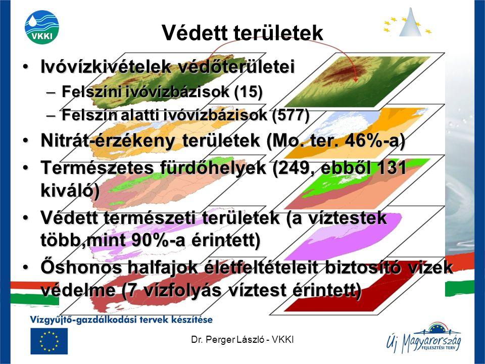 Dr. Perger László - VKKI Védett területek •Ivóvízkivételek védőterületei –Felszíni ivóvízbázisok (15) –Felszín alatti ivóvízbázisok (577) •Nitrát-érzé