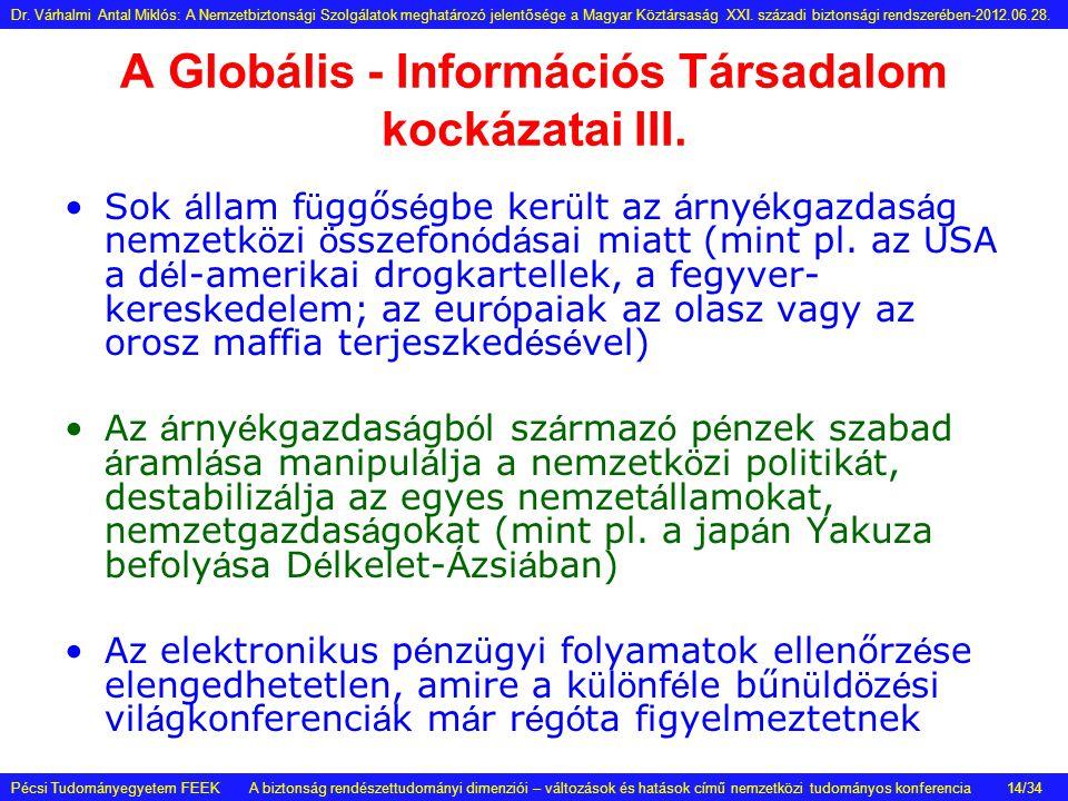A Globális - Információs Társadalom kockázatai III. •Sok á llam f ü ggős é gbe ker ü lt az á rny é kgazdas á g nemzetk ö zi ö sszefon ó d á sai miatt
