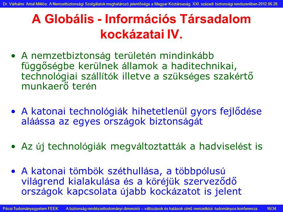 A Globális - Információs Társadalom kockázatai IV. •A nemzetbiztons á g ter ü let é n mindink á bb f ü ggős é gbe ker ü lnek á llamok a haditechnikai,