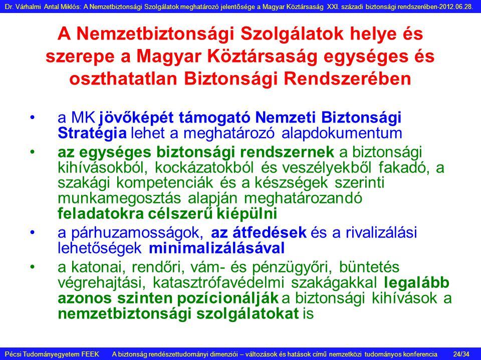 A Nemzetbiztonsági Szolgálatok helye és szerepe a Magyar Köztársaság egységes és oszthatatlan Biztonsági Rendszerében •a MK jövőképét támogató Nemzeti