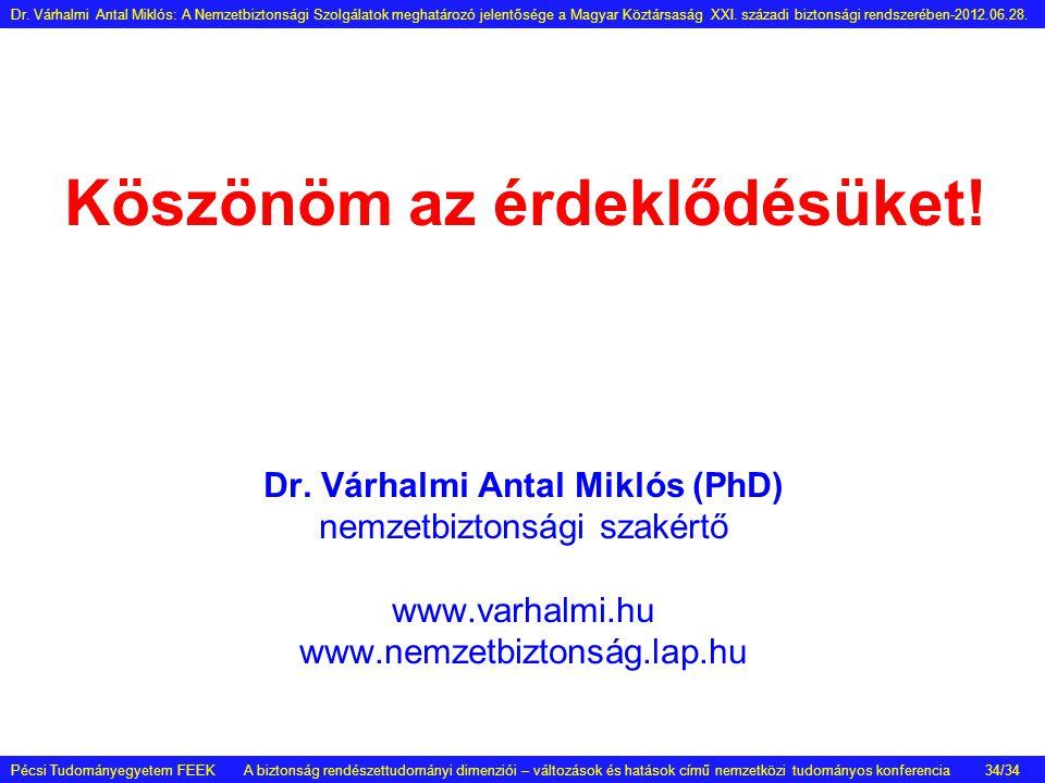 Köszönöm az érdeklődésüket! Dr. Várhalmi Antal Miklós (PhD) nemzetbiztonsági szakértő www.varhalmi.hu www.nemzetbiztonság.lap.hu Pécsi Tudományegyetem