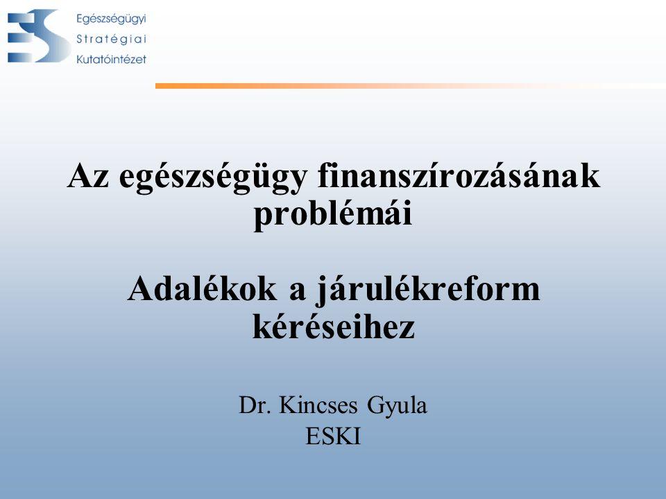 Az egészségügy finanszírozásának problémái Adalékok a járulékreform kéréseihez Dr.