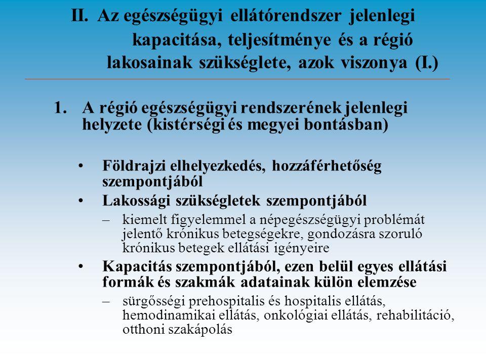 II. Az egészségügyi ellátórendszer jelenlegi kapacitása, teljesítménye és a régió lakosainak szükséglete, azok viszonya (I.) 1.A régió egészségügyi re