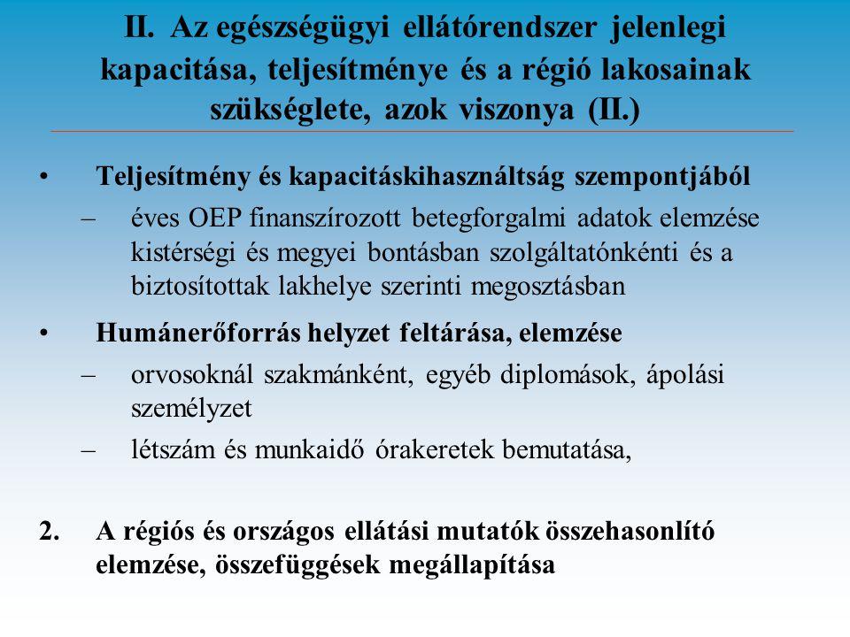 II. Az egészségügyi ellátórendszer jelenlegi kapacitása, teljesítménye és a régió lakosainak szükséglete, azok viszonya (II.) •Teljesítmény és kapacit