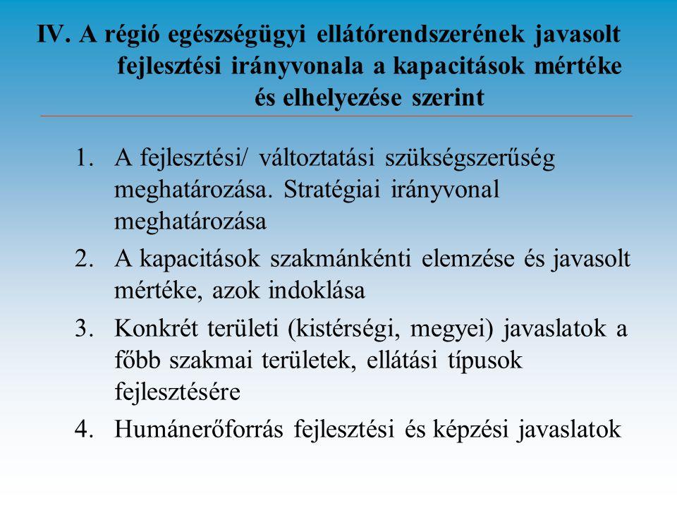 IV. A régió egészségügyi ellátórendszerének javasolt fejlesztési irányvonala a kapacitások mértéke és elhelyezése szerint 1.A fejlesztési/ változtatás