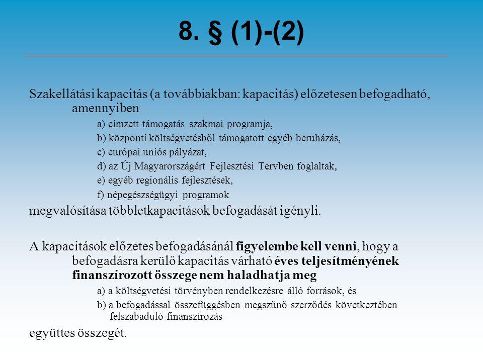 8. § (1)-(2) Szakellátási kapacitás (a továbbiakban: kapacitás) előzetesen befogadható, amennyiben a) címzett támogatás szakmai programja, b) központi
