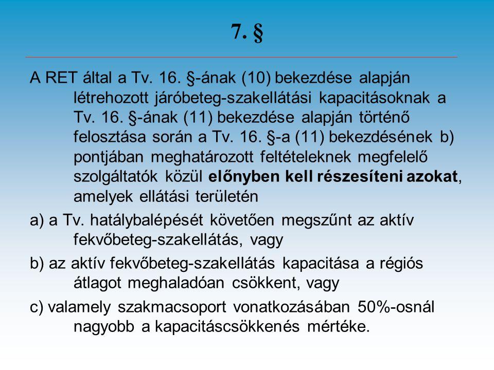 7. § A RET által a Tv. 16. §-ának (10) bekezdése alapján létrehozott járóbeteg-szakellátási kapacitásoknak a Tv. 16. §-ának (11) bekezdése alapján tör