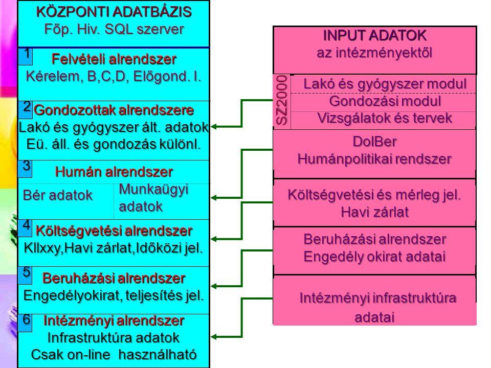 KÖZPONTI ADATBÁZIS Főp. Hiv. SQL szerver 1 4 5 6 3 2 Felvételi alrendszer Kérelem, B,C,D, Előgond. I. Gondozottak alrendszere Lakó és gyógyszer ált. a