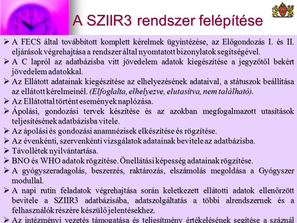 A SZIIR3 rendszer felépítése  A FECS által továbbított komplett kérelmek ügyintézése, az Előgondozás I. és II. eljárások végrehajtása a rendszer álta