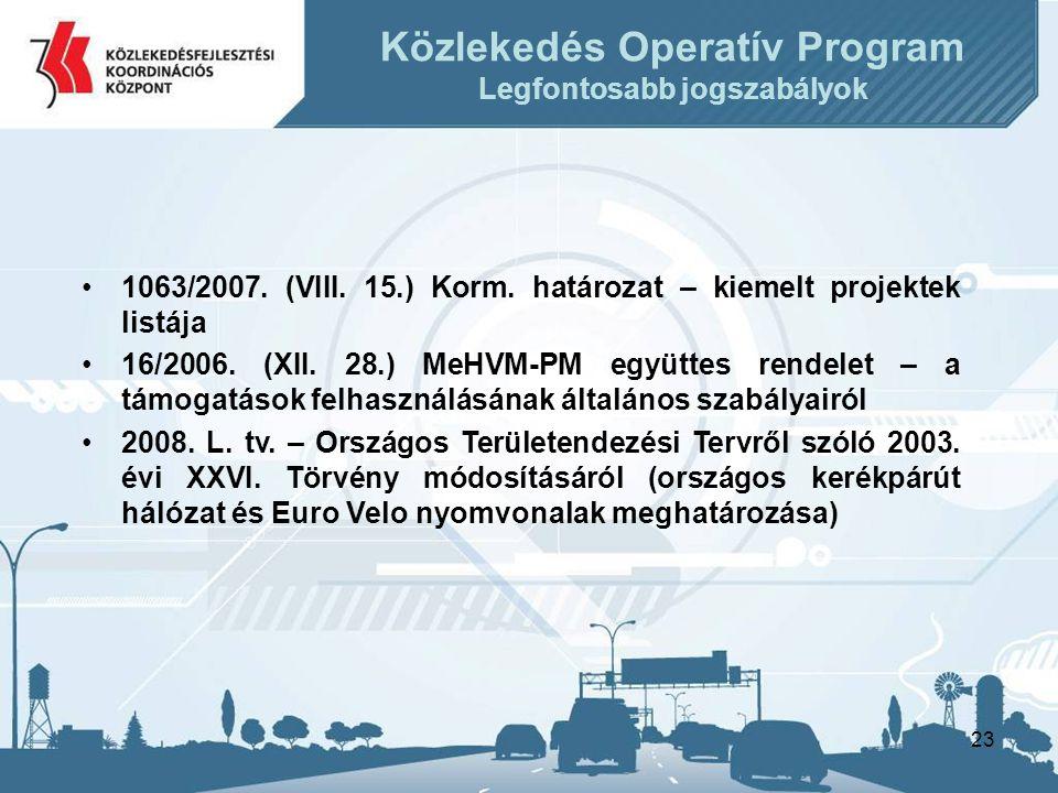 23 •1063/2007.(VIII. 15.) Korm. határozat – kiemelt projektek listája •16/2006.