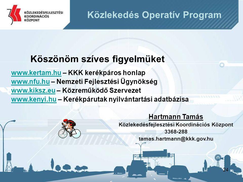 24 Hartmann Tamás Közlekedésfejlesztési Koordinációs Központ 3368-288 tamas.hartmann@kkk.gov.hu Köszönöm szíves figyelmüket www.kertam.hu – KKK kerékpáros honlap www.nfu.hu – Nemzeti Fejlesztési Ügynökség www.kiksz.eu – Közreműködő Szervezet www.kenyi.hu – Kerékpárutak nyilvántartási adatbázisa Közlekedés Operatív Program