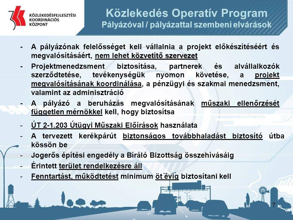 8 •Pályázók köre: –Nemzeti Infrastruktúra Fejlesztő Zrt.