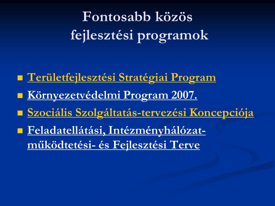 Fontosabb közös fejlesztési programok   Területfejlesztési Stratégiai Program Területfejlesztési Stratégiai Program   Környezetvédelmi Program 200