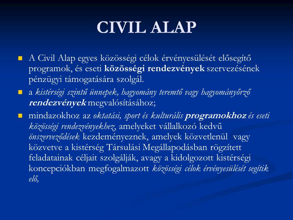 CIVIL ALAP   A Civil Alap egyes közösségi célok érvényesülését elősegítő programok, és eseti közösségi rendezvények szervezésének pénzügyi támogatás