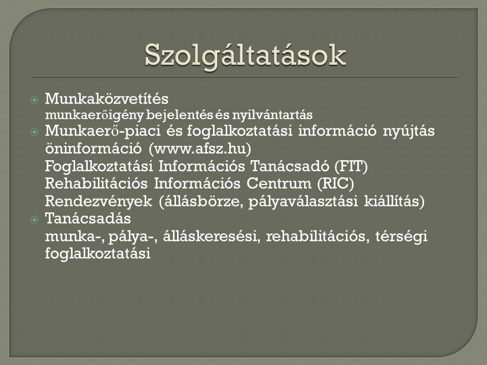  Munkaközvetítés munkaer ő igény bejelentés és nyilvántartás  Munkaer ő -piaci és foglalkoztatási információ nyújtás öninformáció (www.afsz.hu) Fogl