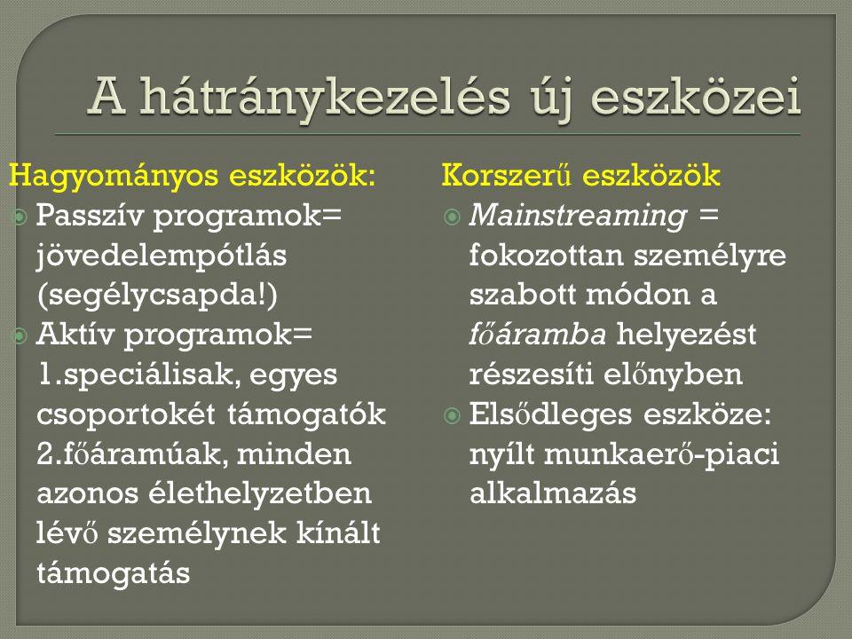 Hagyományos eszközök:  Passzív programok= jövedelempótlás (segélycsapda!)  Aktív programok= 1.speciálisak, egyes csoportokét támogatók 2.f ő áramúak