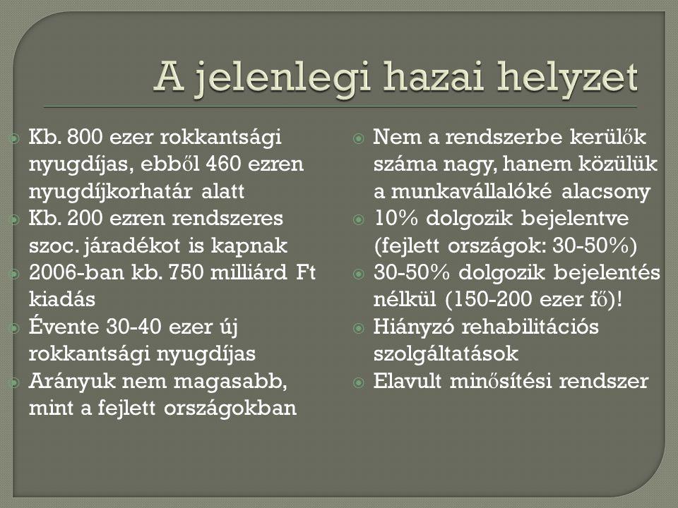  Kb. 800 ezer rokkantsági nyugdíjas, ebb ő l 460 ezren nyugdíjkorhatár alatt  Kb. 200 ezren rendszeres szoc. járadékot is kapnak  2006-ban kb. 750