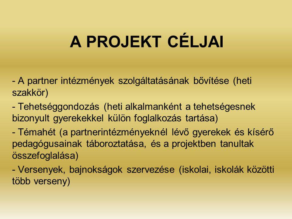 A PROJEKT CÉLJAI - A partner intézmények szolgáltatásának bővítése (heti szakkör) - Tehetséggondozás (heti alkalmanként a tehetségesnek bizonyult gyerekekkel külön foglalkozás tartása) - Témahét (a partnerintézményeknél lévő gyerekek és kísérő pedagógusainak táboroztatása, és a projektben tanultak összefoglalása) - Versenyek, bajnokságok szervezése (iskolai, iskolák közötti több verseny)