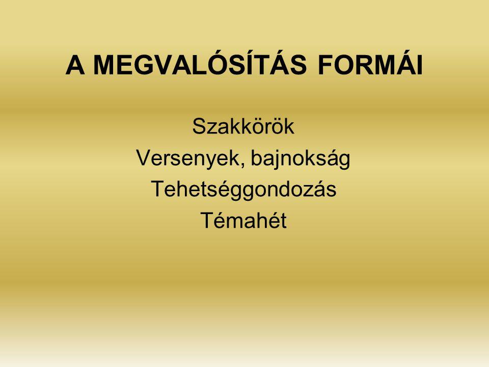 A MEGVALÓSÍTÁS FORMÁI Szakkörök Versenyek, bajnokság Tehetséggondozás Témahét