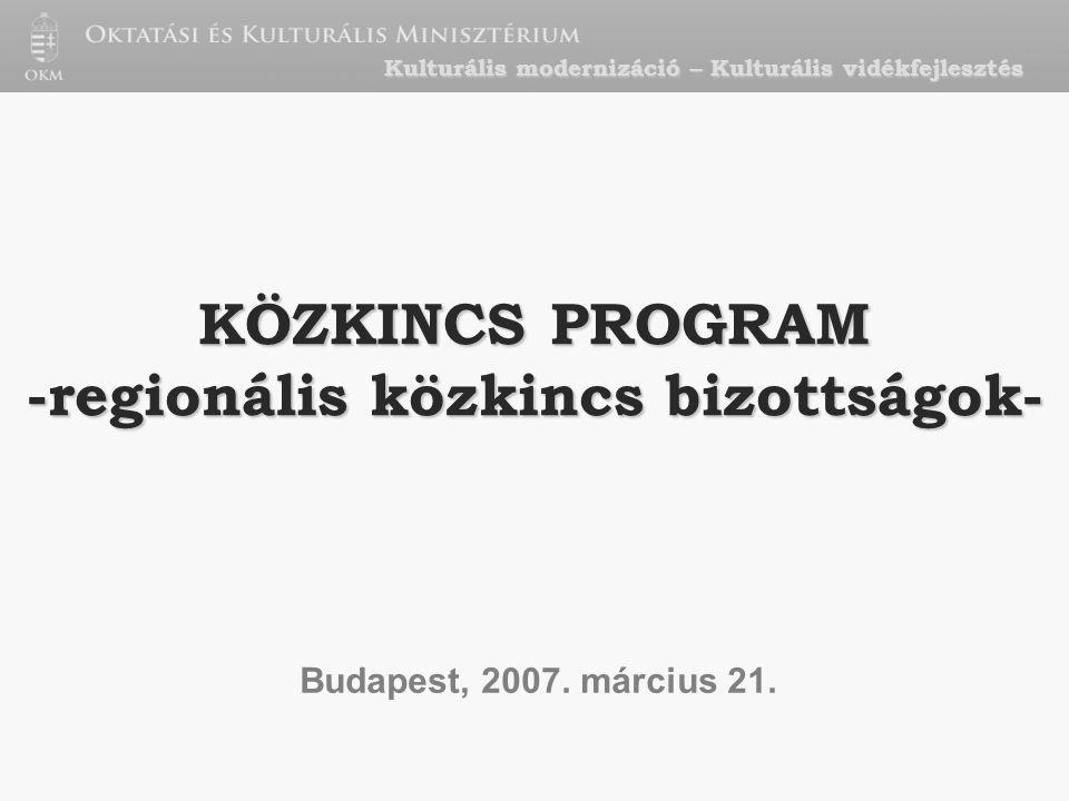 KÖZKINCS PROGRAM -regionális közkincs bizottságok- Budapest, 2007.