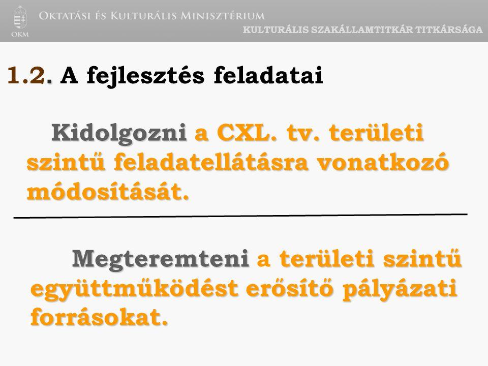 KULTURÁLIS SZAKÁLLAMTITKÁR TITKÁRSÁGA. 1.2. A fejlesztés feladatai Kidolgozni a CXL.