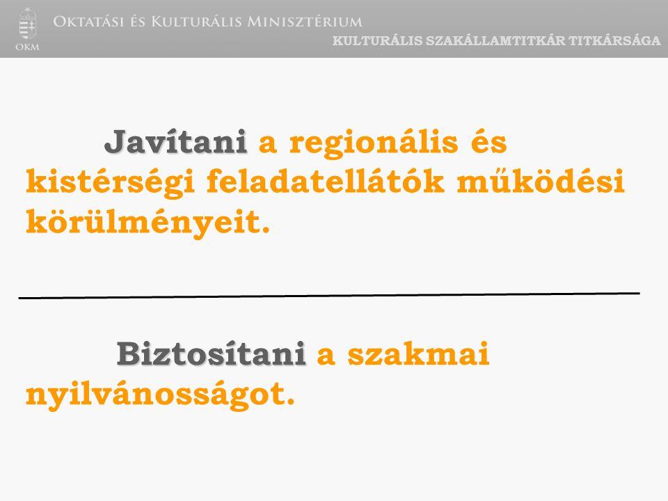 KULTURÁLIS SZAKÁLLAMTITKÁR TITKÁRSÁGA Javítani Javítani a regionális és kistérségi feladatellátók működési körülményeit.