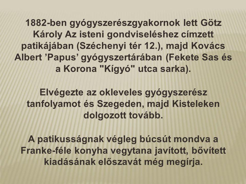 1882-ben gyógyszerészgyakornok lett Götz Károly Az isteni gondviseléshez címzett patikájában (Széchenyi tér 12.), majd Kovács Albert 'Papus' gyógyszer
