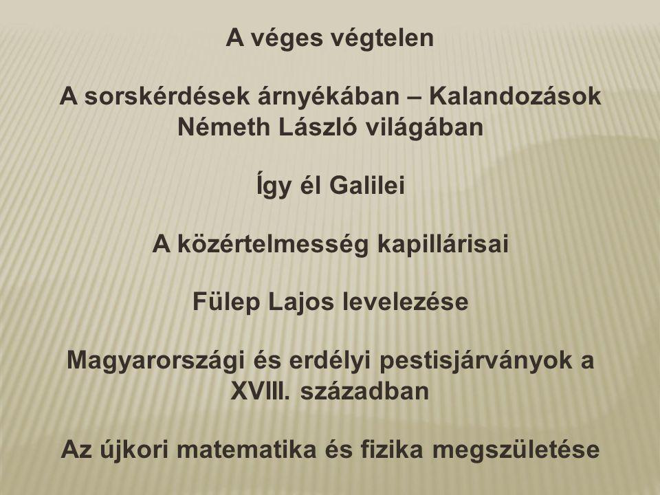 A véges végtelen A sorskérdések árnyékában – Kalandozások Németh László világában Így él Galilei A közértelmesség kapillárisai Fülep Lajos levelezése