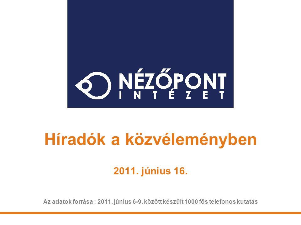 Híradók a közvéleményben 2011. június 16. Az adatok forrása : 2011. június 6-9. között készült 1000 fős telefonos kutatás