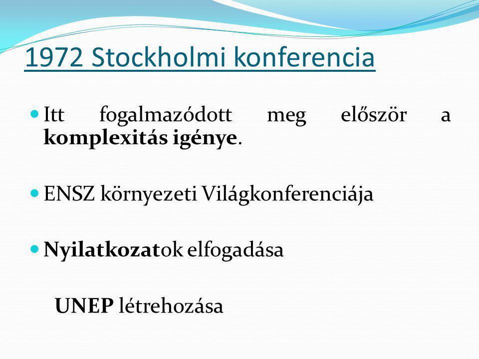 1972 Stockholmi Nyilatkozat  - emberhez méltó környezethez való jog  - környezet megóvása, jobbá tétele a jövő nemzedékek számára  - gazdasági fejlődés – környezetvédelem közötti kölcsönhatás  - kísérlet a fejlett és fejlődő országok között az egységes környezetvédelmi szemlélet kialakítására