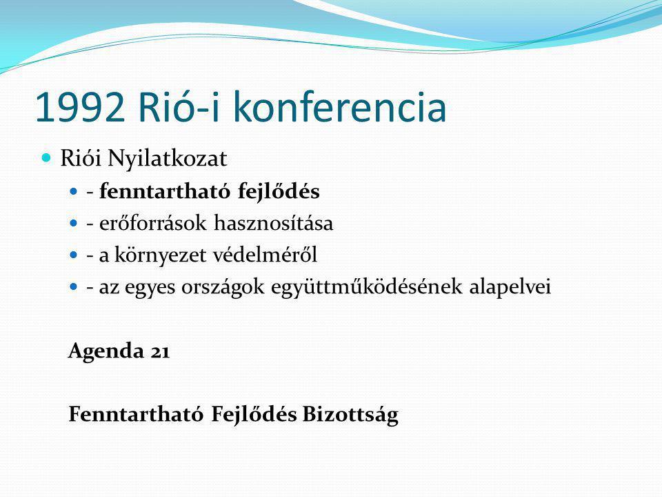 1992 Rió-i konferencia  Riói Nyilatkozat  - fenntartható fejlődés  - erőforrások hasznosítása  - a környezet védelméről  - az egyes országok együ