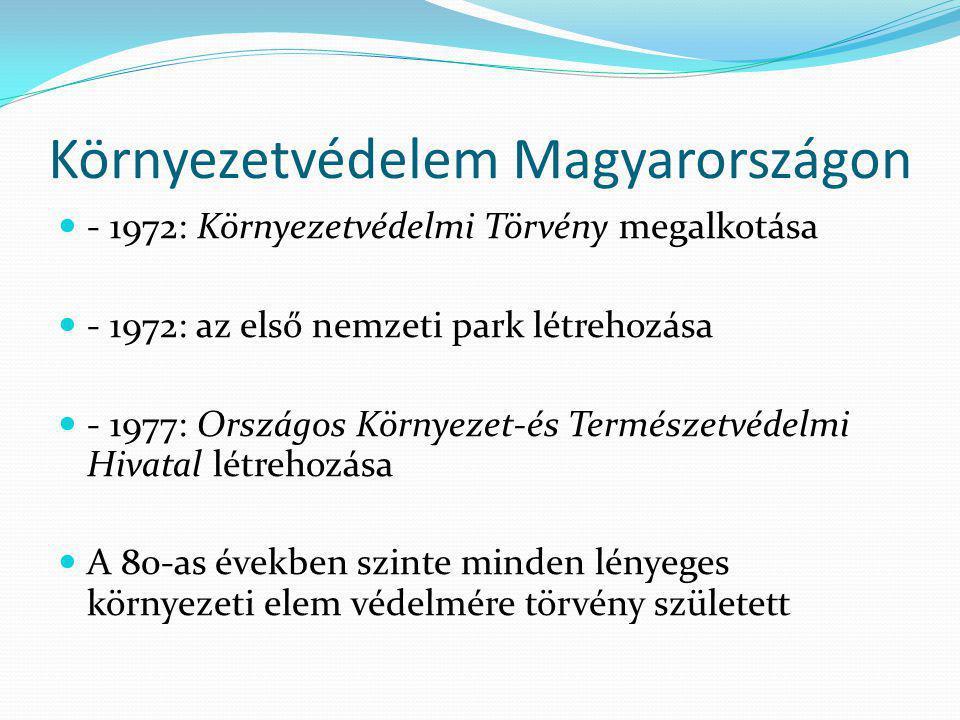 Környezetvédelem Magyarországon  - 1972: Környezetvédelmi Törvény megalkotása  - 1972: az első nemzeti park létrehozása  - 1977: Országos Környezet