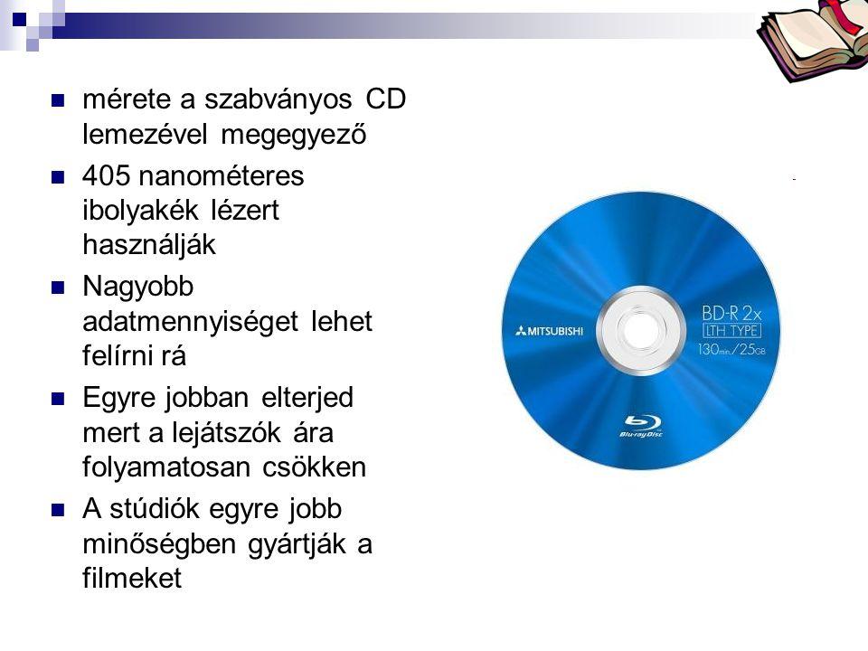 Bóta Laca  mérete a szabványos CD lemezével megegyező  405 nanométeres ibolyakék lézert használják  Nagyobb adatmennyiséget lehet felírni rá  Egyr