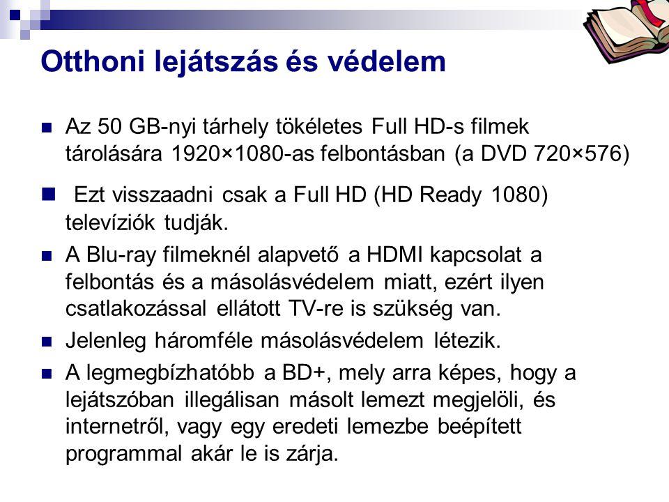 Bóta Laca Otthoni lejátszás és védelem  Az 50 GB-nyi tárhely tökéletes Full HD-s filmek tárolására 1920×1080-as felbontásban (a DVD 720×576)  Ezt vi