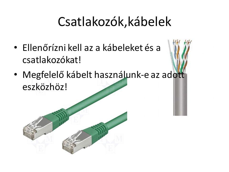 Csatlakozók,kábelek • Ellenőrízni kell az a kábeleket és a csatlakozókat.
