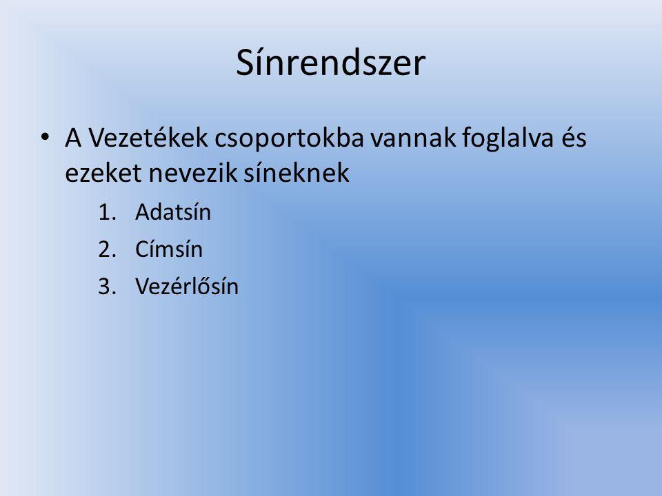 Sínrendszer • A Vezetékek csoportokba vannak foglalva és ezeket nevezik síneknek 1.Adatsín 2.Címsín 3.Vezérlősín