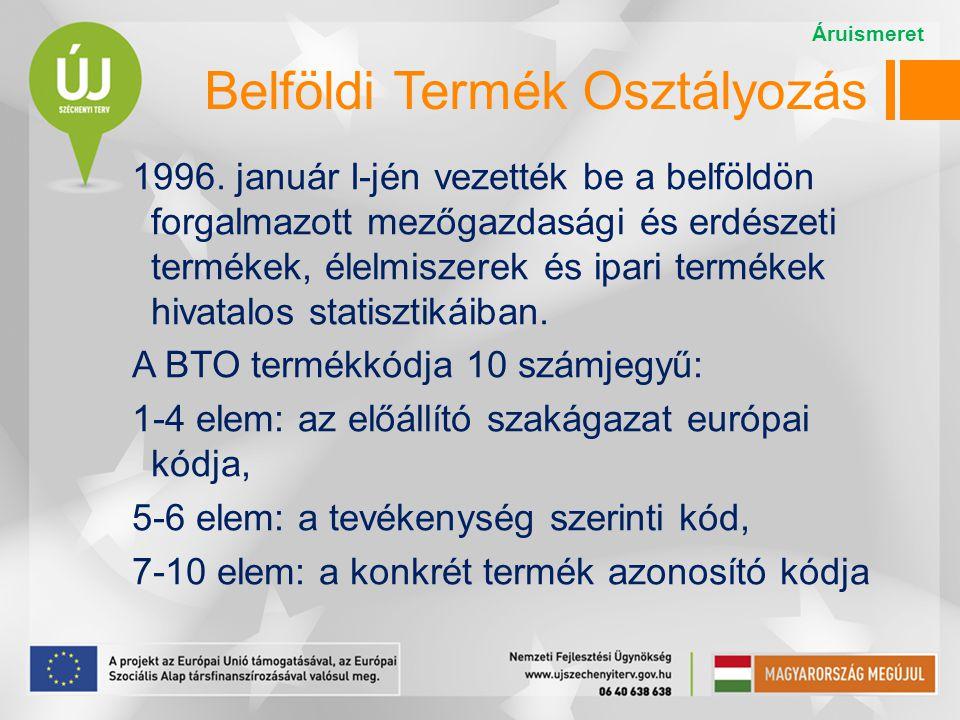 Belföldi Termék Osztályozás 1996. január I-jén vezették be a belföldön forgalmazott mezőgazdasági és erdészeti termékek, élelmiszerek és ipari terméke
