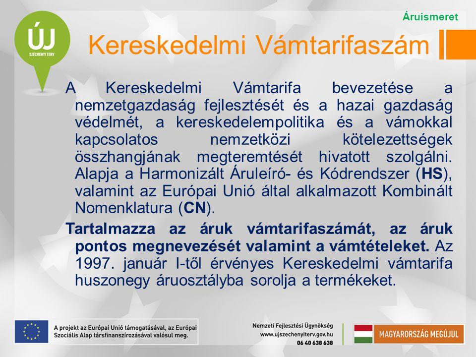 Kereskedelmi Vámtarifaszám A Kereskedelmi Vámtarifa bevezetése a nemzetgazdaság fejlesztését és a hazai gazdaság védelmét, a kereskedelempolitika és a
