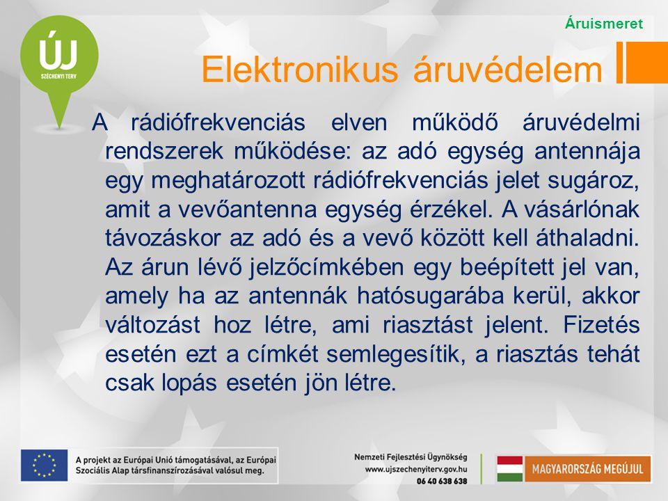 Elektronikus áruvédelem A rádiófrekvenciás elven működő áruvédelmi rendszerek működése: az adó egység antennája egy meghatározott rádiófrekvenciás jel