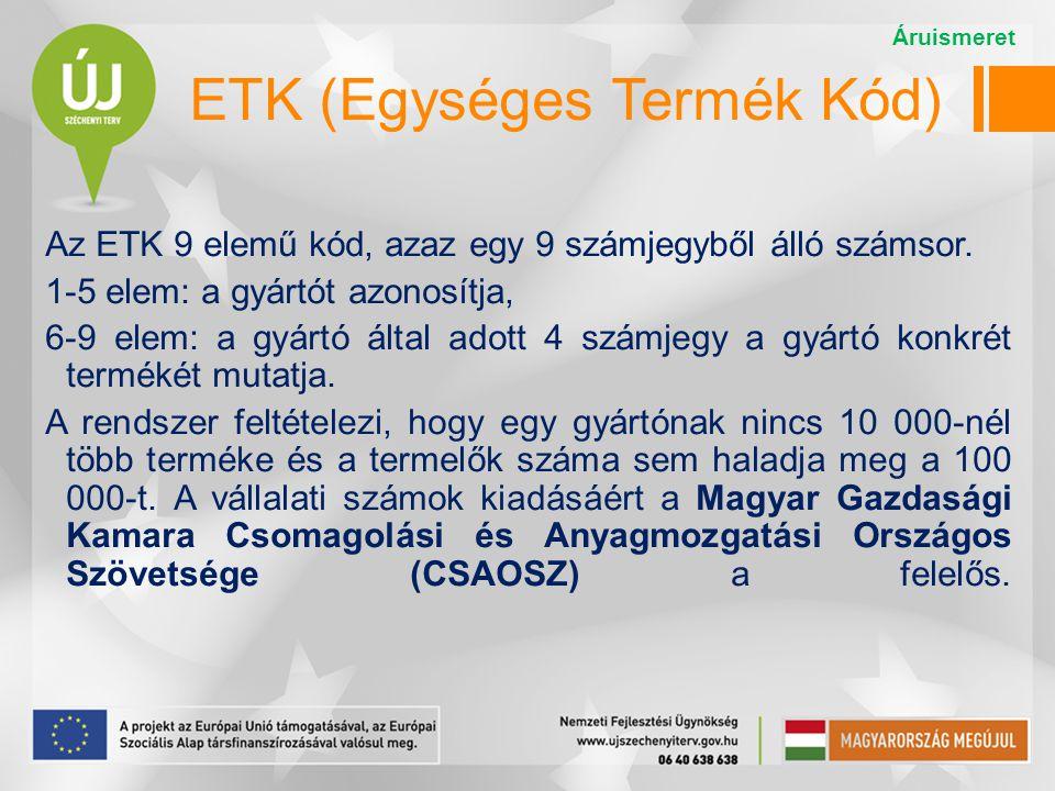 ETK (Egységes Termék Kód) Az ETK 9 elemű kód, azaz egy 9 számjegyből álló számsor. 1-5 elem: a gyártót azonosítja, 6-9 elem: a gyártó által adott 4 sz