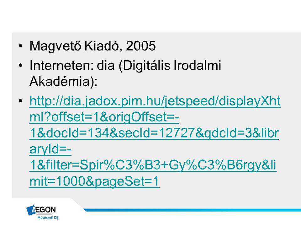 •Magvető Kiadó, 2005 •Interneten: dia (Digitális Irodalmi Akadémia): •http://dia.jadox.pim.hu/jetspeed/displayXht ml?offset=1&origOffset=- 1&docId=134