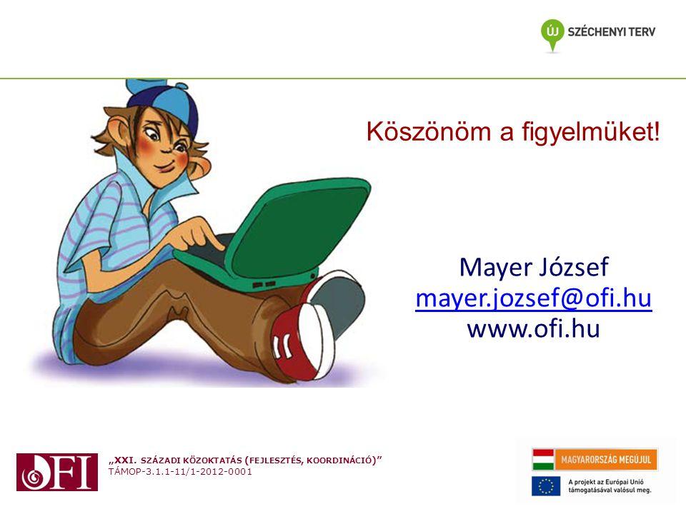"""""""XXI. SZÁZADI KÖZOKTATÁS ( FEJLESZTÉS, KOORDINÁCIÓ )"""" TÁMOP-3.1.1-11/1-2012-0001 Mayer József mayer.jozsef@ofi.hu www.ofi.hu Köszönöm a figyelmüket!"""