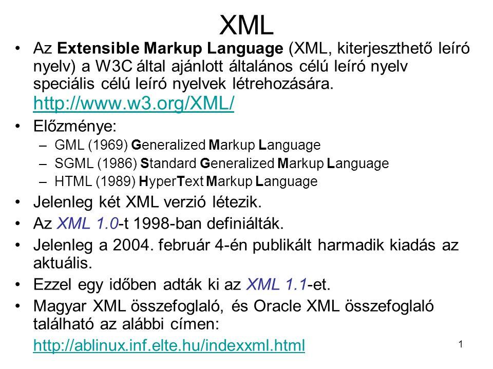 1 XML •Az Extensible Markup Language (XML, kiterjeszthető leíró nyelv) a W3C által ajánlott általános célú leíró nyelv speciális célú leíró nyelvek létrehozására.