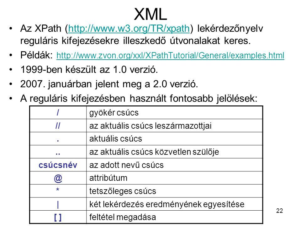 22 XML •Az XPath (http://www.w3.org/TR/xpath) lekérdezőnyelv reguláris kifejezésekre illeszkedő útvonalakat keres.http://www.w3.org/TR/xpath •Példák: http://www.zvon.org/xxl/XPathTutorial/General/examples.html http://www.zvon.org/xxl/XPathTutorial/General/examples.html •1999-ben készült az 1.0 verzió.