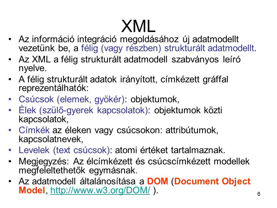 6 XML •Az információ integráció megoldásához új adatmodellt vezetünk be, a félig (vagy részben) strukturált adatmodellt.