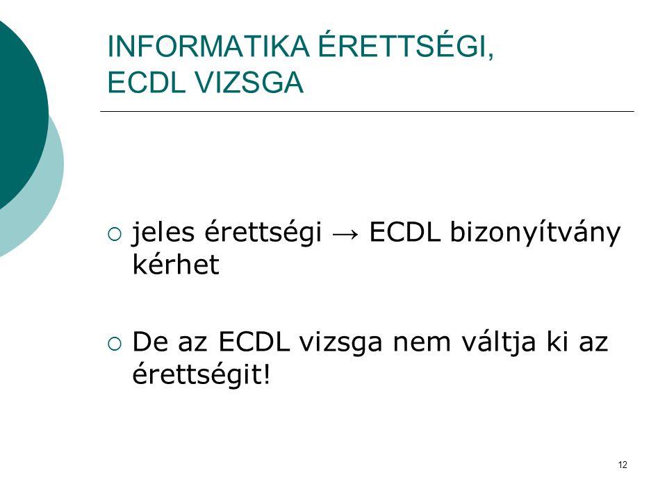 12 INFORMATIKA ÉRETTSÉGI, ECDL VIZSGA  jeles érettségi → ECDL bizonyítvány kérhet  De az ECDL vizsga nem váltja ki az érettségit!