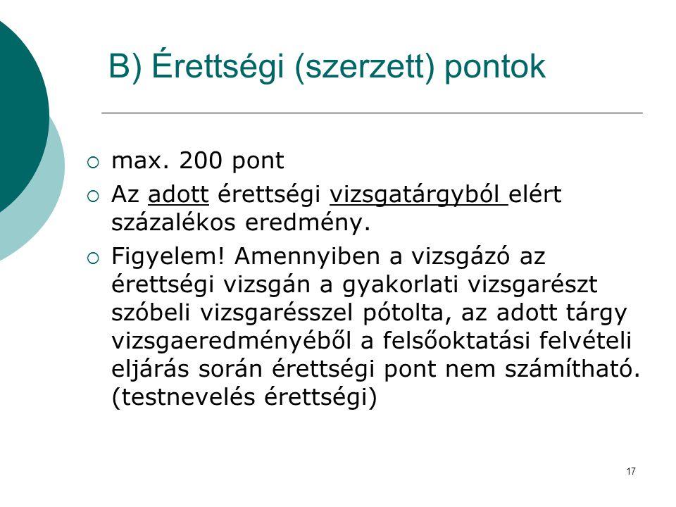 17 B) Érettségi (szerzett) pontok  max. 200 pont  Az adott érettségi vizsgatárgyból elért százalékos eredmény.  Figyelem! Amennyiben a vizsgázó az