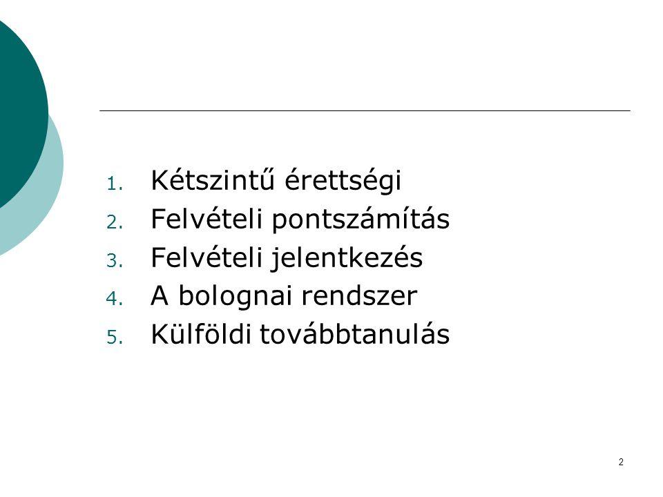 2 1. Kétszintű érettségi 2. Felvételi pontszámítás 3. Felvételi jelentkezés 4. A bolognai rendszer 5. Külföldi továbbtanulás