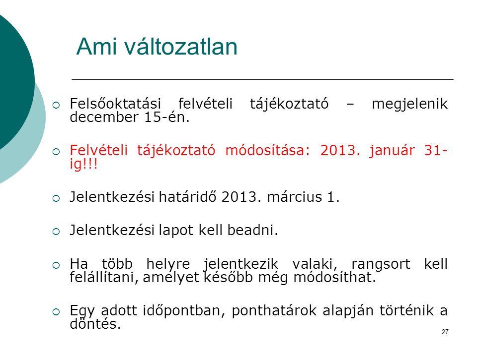 27 Ami változatlan  Felsőoktatási felvételi tájékoztató – megjelenik december 15-én.  Felvételi tájékoztató módosítása: 2013. január 31- ig!!!  Jel